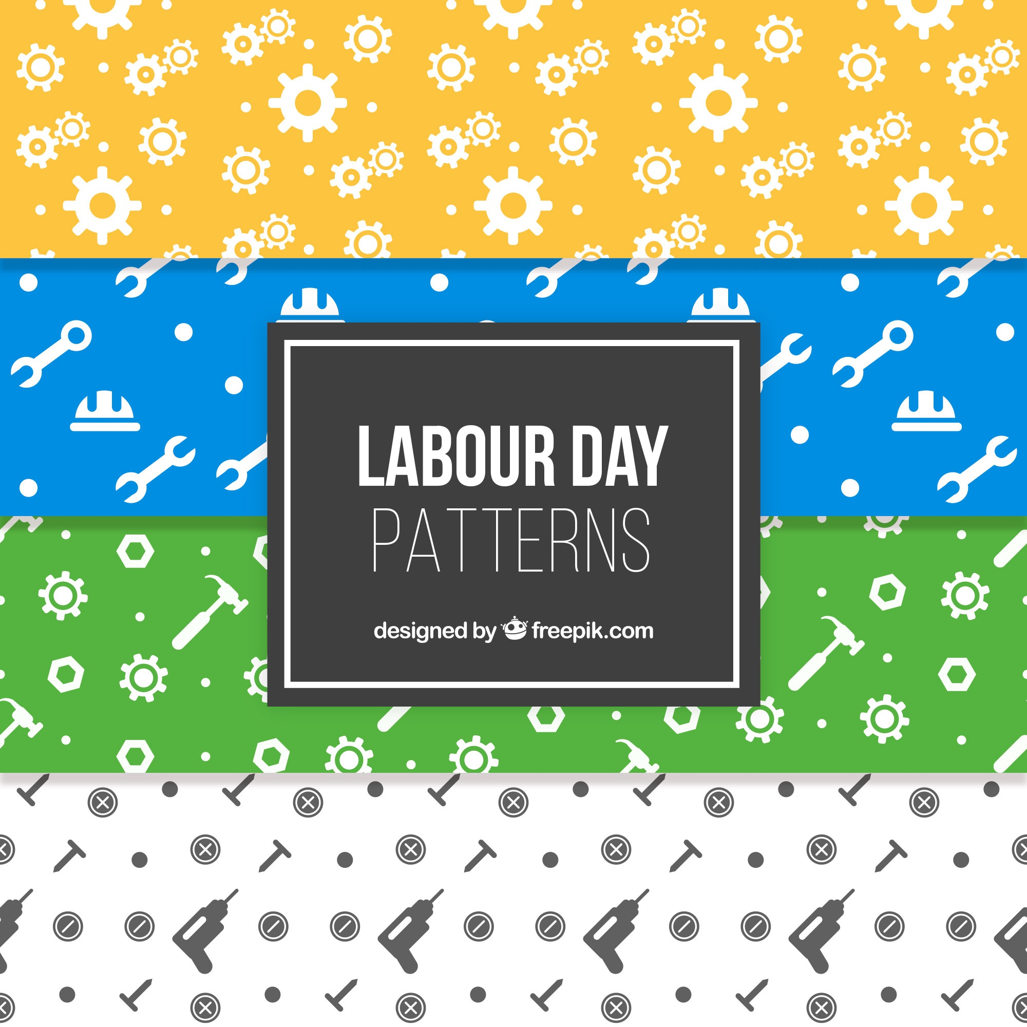 Variety of labour day patterns with tools in flat design