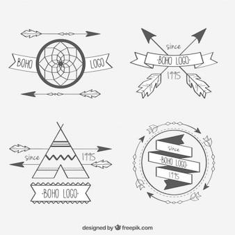 Variety of logotypes with boho elements