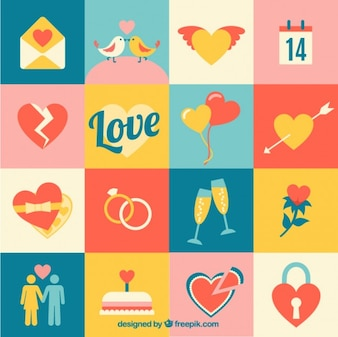 Variety of love icons
