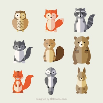 Variety of lovely animals in flat style