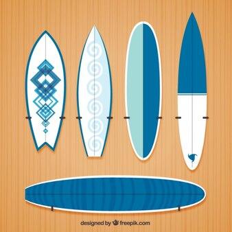 Variety of modern surfboards
