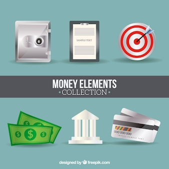 Variety of money and business elements in flat design