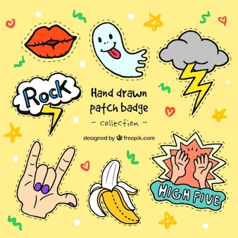 Variety of nice hand drawn patches