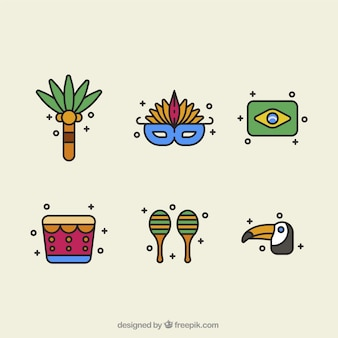 Variety of objects in flat design for brazilian carnival