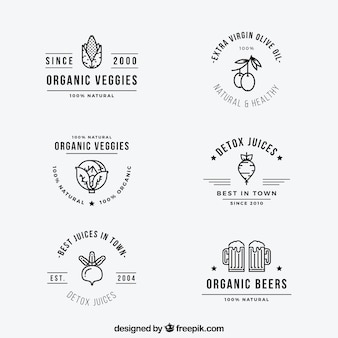 Variety of organic food labels in flat design
