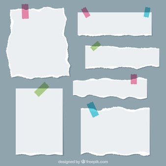 Variety of paper sheets with colorful tapes