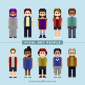Variety of pixilated people