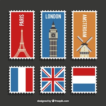 Variety of post stamps of different countries