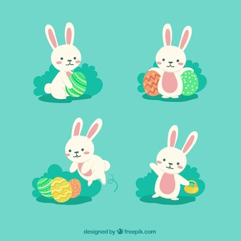 Variety of pretty easter rabbits in flat design
