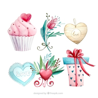 Variety of pretty watercolor elements for valentine
