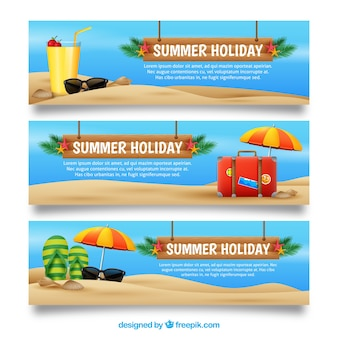 Variety of realistic summer banners
