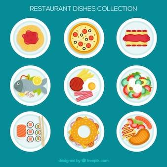 フラットなデザインのレストランの様々な料理