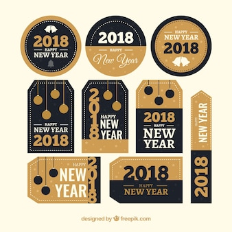 Variety of retro stickers for new year 2018