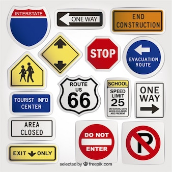 Variety of road signs