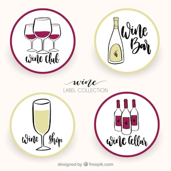 Variety of round wine stickers in hand-drawn style