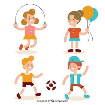 Variety of smiling kids playing