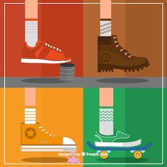 Variety of sneakers