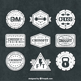 Variety of sport badges in retro style