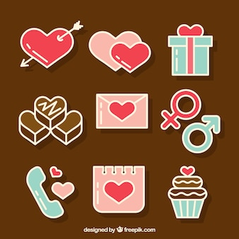 Variety of stickers for valentine's day