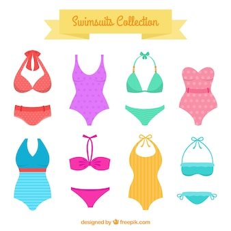 Variety of swimsuits and bikinis