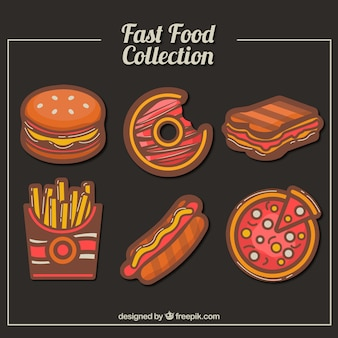 Variety of tasty fast food