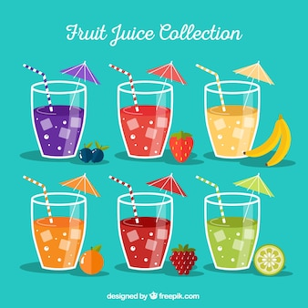 Variety of tasty fruit juices