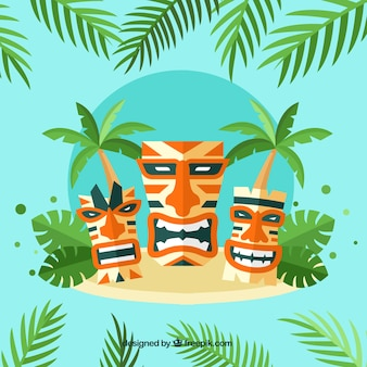 Variety of tiki masks on the island