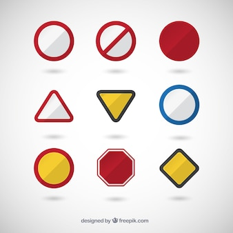 Variety of traffic signs