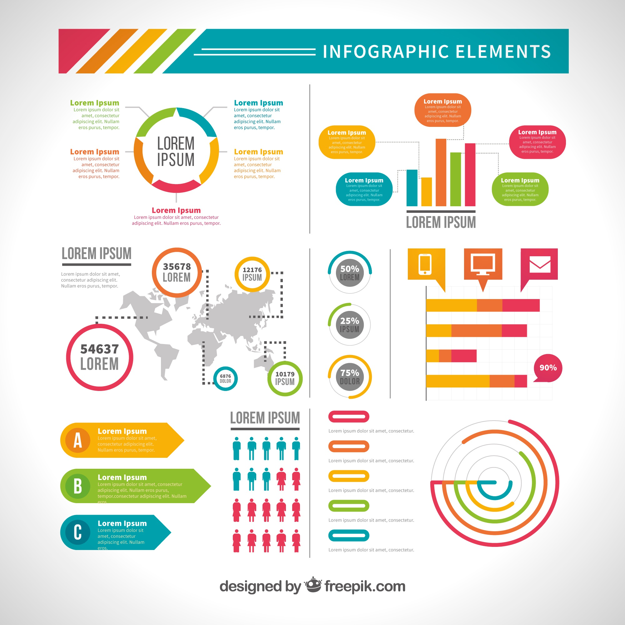 Variety of useful infographic elements in flat design