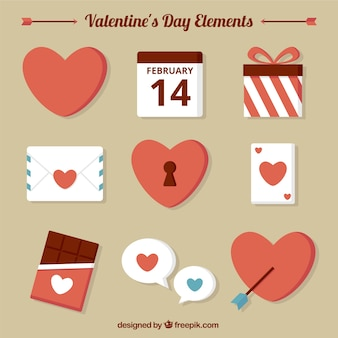 Variety of valentine elements