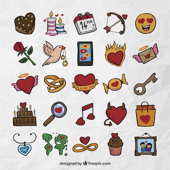 Variety of valentine icons