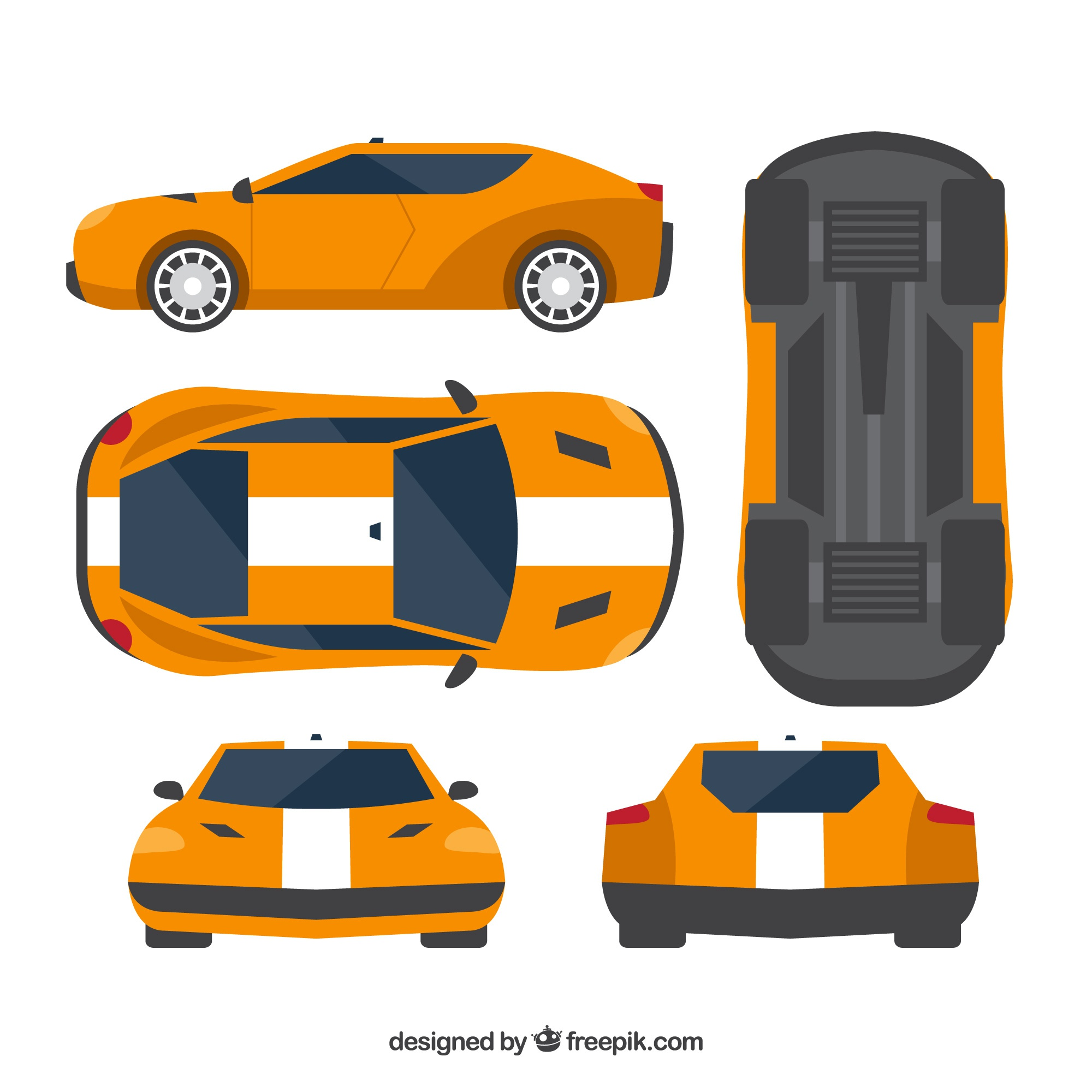 Variety of views of race car