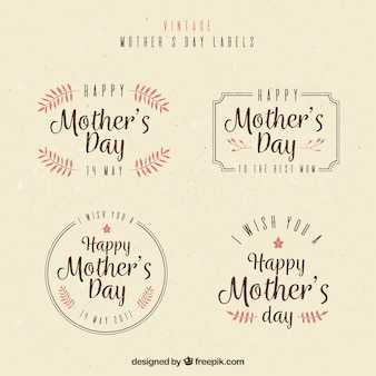 Variety of vintage mother's day labels