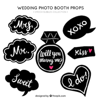 Variety of vintage wedding speech bubbles
