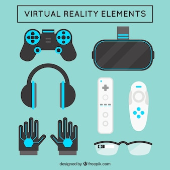 Variety of virtual reality elements in flat design