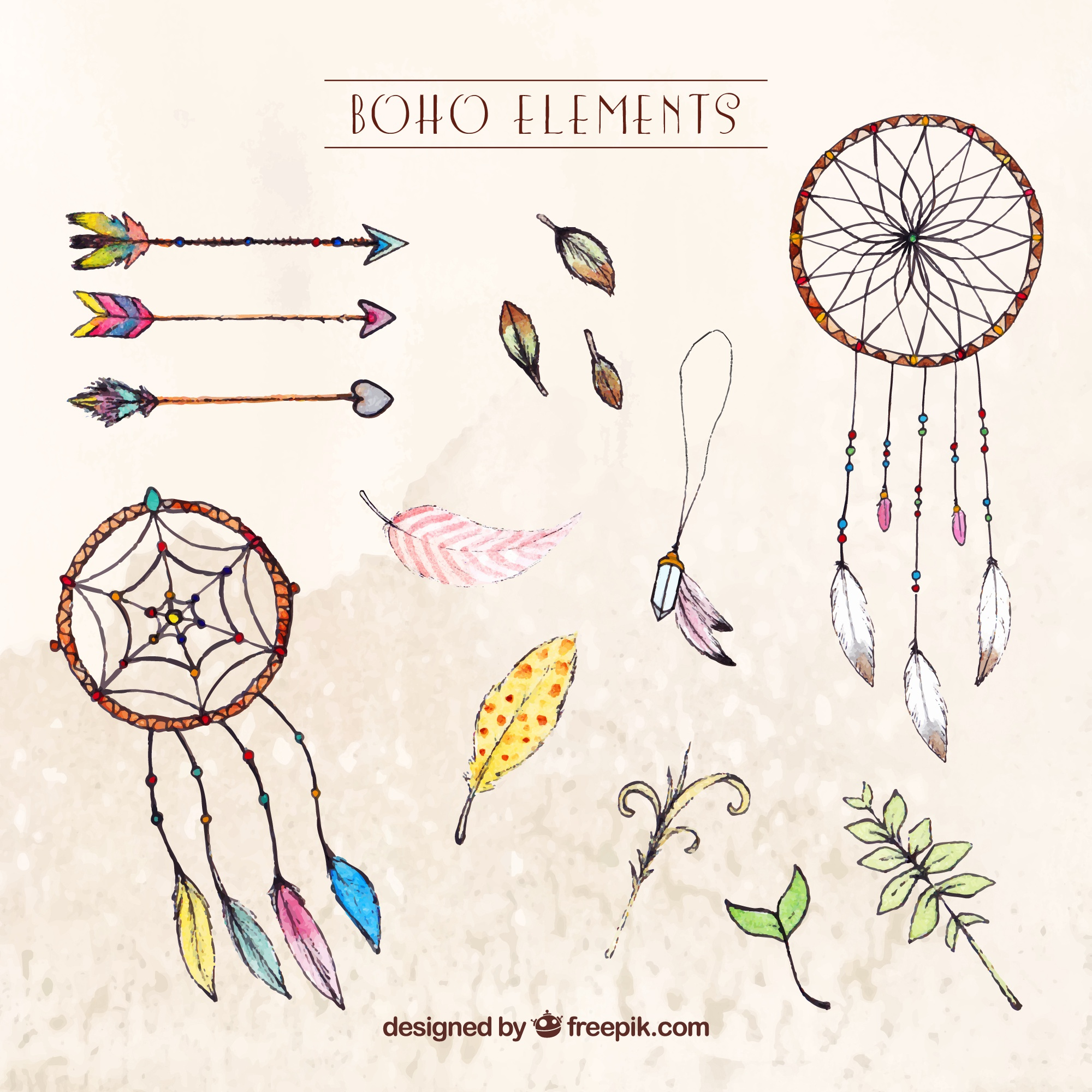Variety of watercolor boho objects