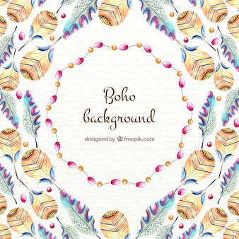 Variety of watercolor feathers background