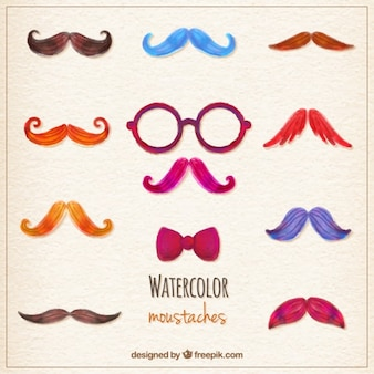 Variety of watercolor moustaches