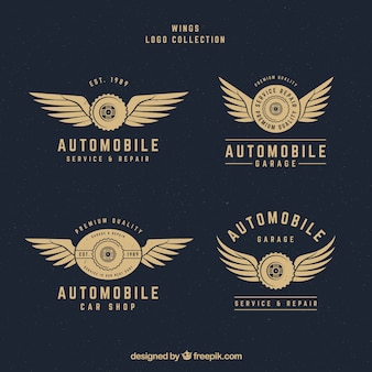 ヴィンテージスタイルの翼のロゴの様々な