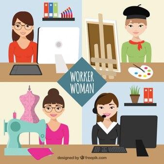 Variety of worker women