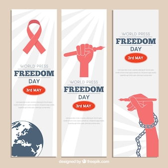 Variety of world press freedom day banners with red elements