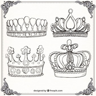 Varios luxury crowns in hand-drawn style
