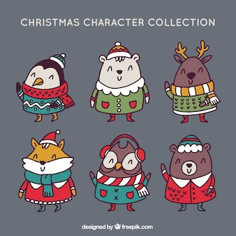 Various animals wearing hand drawn christmas clothes