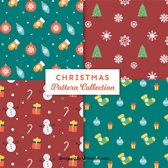 Various christmas patterns with elements