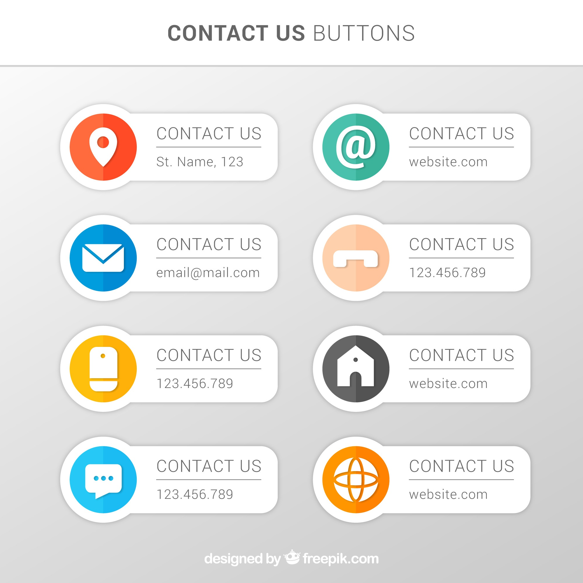 Various contact buttons in flat design