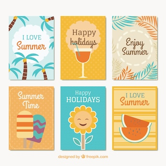 Various decorative summer cards
