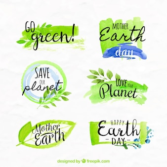 Various earth day watercolor stickers