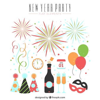 Various elements of new year's party