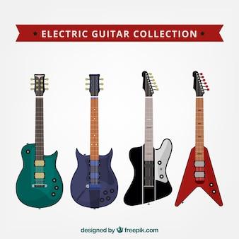 Various flat electric guitars
