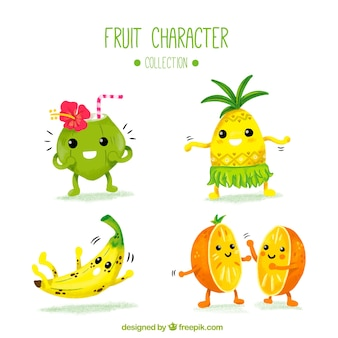 Various fruit characters in watercolor style
